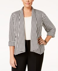 Kasper Plus Size Houndstooth Open Front Jacket Black Ivory