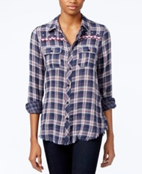 Miss Me Embroidered Plaid Shirt Blue