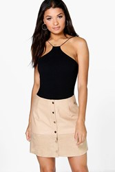 Boohoo Button Through A Line Leather Look Skirt Taupe