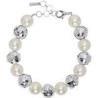 Junya Watanabe Off White And Silver Flake Edition Pearl Necklace