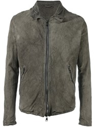 Giorgio Brato Leather Zipped Jacket Grey