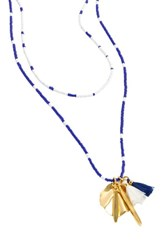 J.Crew Beaded Shell And Tassel Pendant Necklace Blue