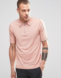 Weekday Dig Zip Polo Neck Jumper Short Sleeve In Pink Pink 37 124