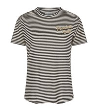 Sandrine Rose Striped Slogan T Shirt Brown