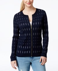 Tommy Hilfiger Diamond Pattern Front Zip Cardigan