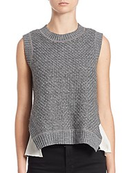 Bailey 44 Counterpoint Silk Trimmed Knit Top Grey Cream