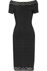 Herve Leger Karlee Off The Shoulder Embellished Bandage Dress Black