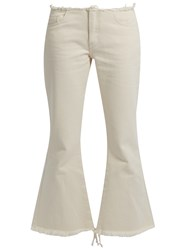 Marques Almeida Capri Frayed Edge Flared Cropped Jeans Ivory