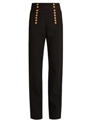 Burberry Button Embellished High Rise Trousers Black