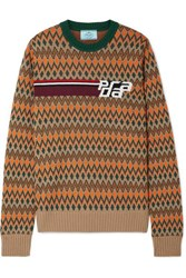 Prada Intarsia Wool And Cashmere Blend Sweater Beige