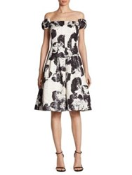 Rickie Freeman For Teri Jon Bow Floral Brocade Dress Black White