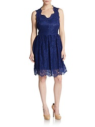 Saks Fifth Avenue Red Lace Sweetheart Dress Navy Blue