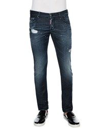 Dsquared Slim Fit Paint Splatter Distressed Denim Jeans Blue