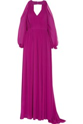 Mikael Aghal Cutout Pleated Chiffon Gown Violet