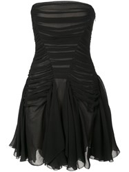 Vera Wang Ruched Strapless Mini Dress Black