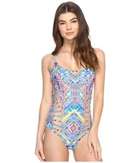 Red Carter Beauty The Beach Side Cut Out One Piece White Multi Women's Swimsuits One Piece