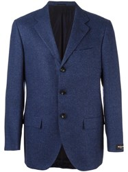 Kiton Buttoned Long Sleeve Blazer Blue