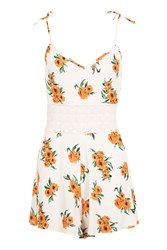 Topshop Orange Flower Playsuit Cream