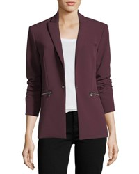 Veronica Beard One Button Tailored Scuba Blazer Wine
