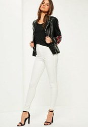 Missguided White Highwaisted Super Stretch Skinny Jeans