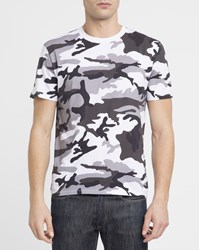 Sandro White And Black Camouflage Print T Shirt