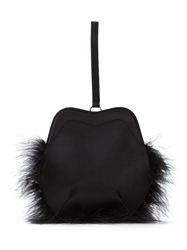 Simone Rocha Feather Trim Clutch Black