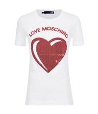 Love Moschino Sequin Heart T Shirt White