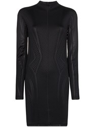 Thierry Mugler Embossed Fitted Mini Dress Black