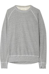 The Great College Distressed Cotton Blend Jersey Sweatshirt Gray Usd
