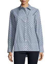 See By Chloe Button Front Dot Print Shirt Gray Multi Women's
