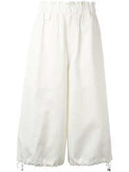 Helmut Lang Wide Legged Cropped Trousers White