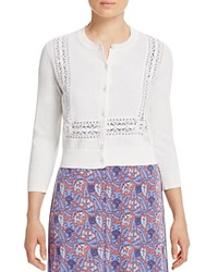 Tory Burch Scarlet Crochet Trim Cropped Cardigan White