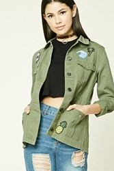 Forever 21 Patch Utility Jacket Olive