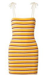 Solid And Striped Cotton Blend Terry Mini Dress Yellow