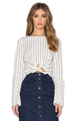 Nicholas Stripe Tie Front Long Sleeve Top White