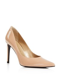 Stuart Weitzman Legend Patent Leather High Heel Pointed Toe Pumps Adobe