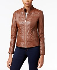 Guess Leather Bomber Jacket Cognac