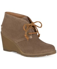 Sperry Women's Celeste Prow Wedge Ankle Booties Women's Shoes Taupe