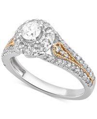 Macy's Diamond Two Tone Engagement Ring 1 2 Ct. T.W. In 14K Gold And White Gold Two Tone