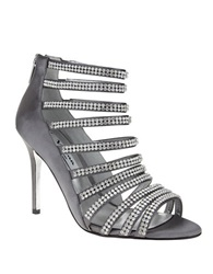 Nina Memory Crystallized Satin Stilettos Silver Satin