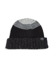 Bickley Mitchell Lambswool Blend Colorblock Knit Beanie Black