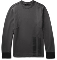 Y 3 Printed Loopback Cotton Jersey Sweatshirt Charcoal