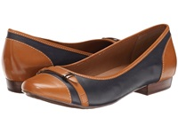 Clarks Lockney Bird Navy Leather Women's Flat Shoes Blue