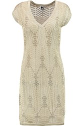M Missoni Metallic Crochet Knit Mini Dress Gold