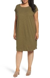 Eileen Fisher Plus Size Women's Hemp And Organic Square Neck Shift Dress Olive