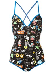 Fendi Printed Swimsuit Black