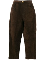 Chanel Vintage Tapered Cropped Trousers Brown