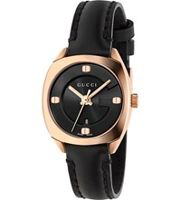Gucci Ya142509 Gg2570 Pink Gold And Leather Watch