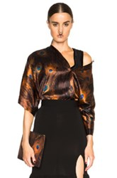 Givenchy Peacock Blouse In Orange Black Abstract