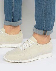 Asos Retro Trainers In Relaxed Off White Faux Suede Off White